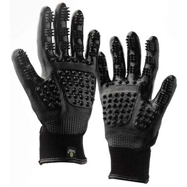 H HANDSON 867988GrBlMD Pet Grooming Gloves