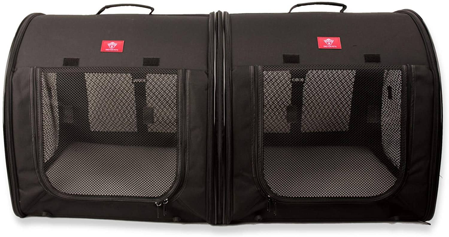 One for Pets Portable 2-in-1 Double Pet Carrier