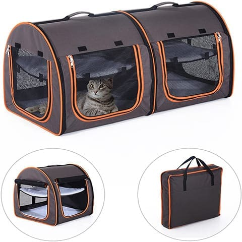 Pawhut D00-080GY Soft-Sided Dual Pet Carrier
