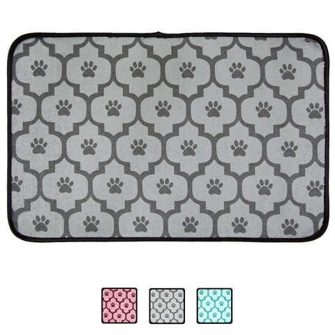 Bone Dry Lattice Paw Print Cat Food Mat