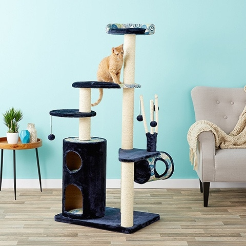 MidWest Feline Nuvo Playhouse Faux Fur Cat Tree