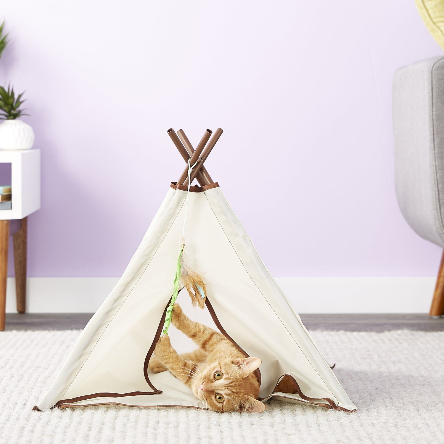 cat inside SmartyKat Kitty Camp TeePee Cat Toy