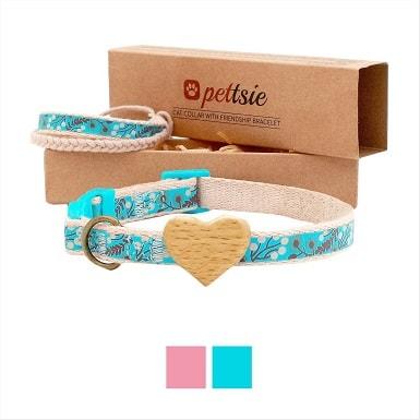 3Pettsie Heart Cotton Breakaway Cat Collar with Friendship Bracelet