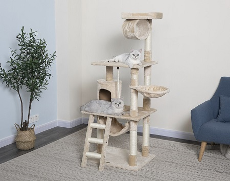 4Go Pet Club 62-in Faux Fur Cat Tree & Condo
