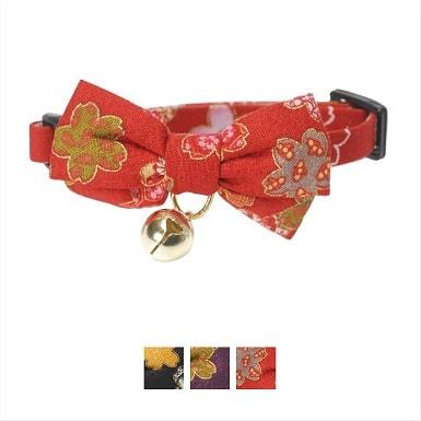 4Necoichi Japanese Kimono Bow Tie Cotton Breakaway Cat Collar with Bell