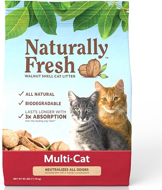 5Naturally Fresh Multi-Cat Unscented Clumping Walnut Cat Litter