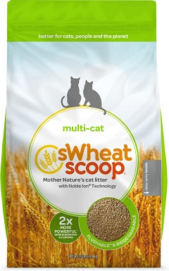 6sWheat Scoop Multi-Cat Unscented Clumping Wheat Cat Litter