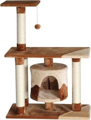 7EliteField 38-in Faux Fur Cat Tree & Condo, BrownBeige