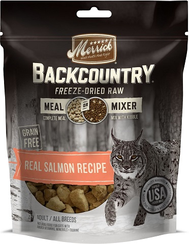 Merrick Backcountry Grain-Free Meal Mixer Real Salmon Recipe Freeze-Dried Raw Cat Food