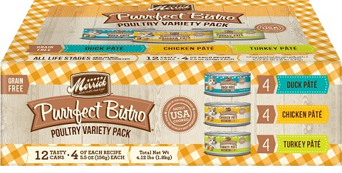 Merrick Purrfect Bistro Poultry Grain-Free Variety Pack Canned Cat Food