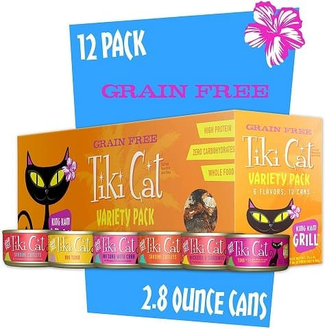 1Tiki Cat Grill Grain-Free, Low-Carbohydrate Wet Food with Whole Seafood in Broth for Adult Cats & Kittens
