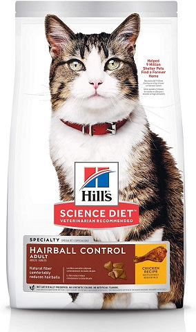 2Hill's Science Diet Dry Cat Food, Adult, Hairball Control, Chicken Recipe