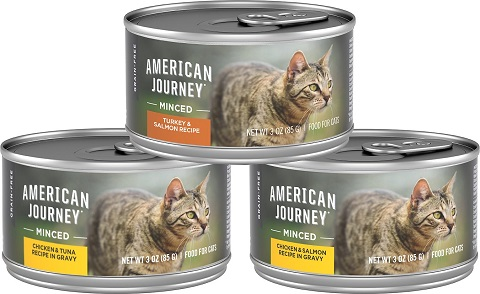 3American Journey Minced Poultry & Seafood in Gravy Variety Pack Grain-Free Canned Cat Food