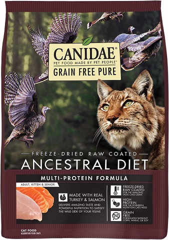 3CANIDAE Grain-Free PURE Ancestral Diet Freeze-Dried Raw Coated Multi-Protein Formula with Turkey & Salmon Dry Cat Food