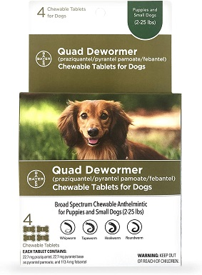 Bayer Chewable Quad Dewormer for Small Dogs