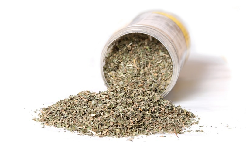 Dried green catnip for cats spilling from container