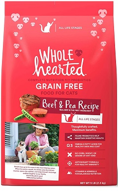 WholeHearted Grain Free Beef and Pea Recipe Dry Cat Food for All Life Stages