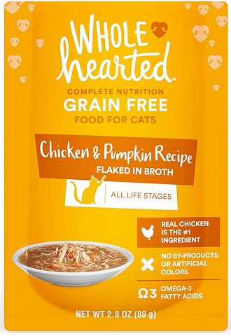 WholeHearted Grain Free Chicken & Pumpkin Recipe Flaked in Broth_Wet Cat Food