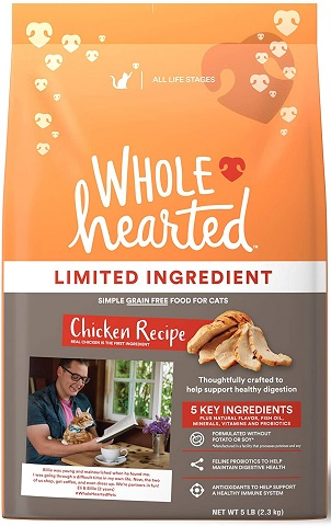 WholeHearted Grain Free Limited Ingredient Chicken Recipe Dry Cat Food_All Life Stages