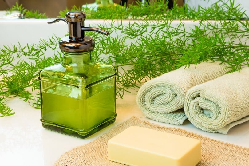 pump green glass bottle with liquid castile soap