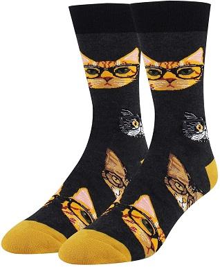 HAPPYPOP Men Orange Cat Animal Socks