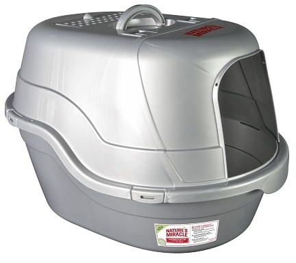Nature's Miracle Silver Oval Hooded Litter Box