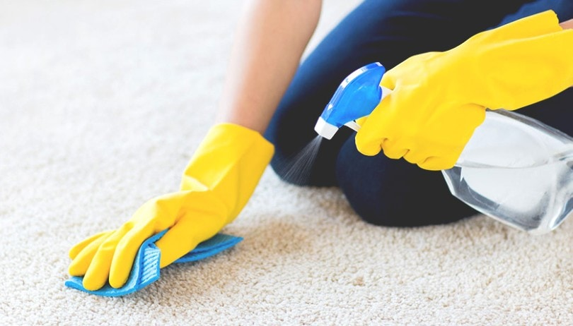 spraying carpet cleaner on the carpet