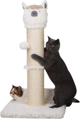 3PutnPurr 32.5 Tall Alpaca Cat Scratching Post with Dangling Ball