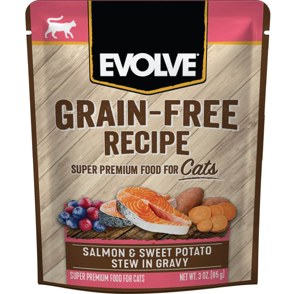 Evolve Salmon & Sweet Potato Stew in Gravy Grain-Free Wet Pouch Cat Food