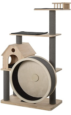 PawHut 56 Cat Tree Activity Condo Luxury Pine Wood with Hamster-Wheel, Sisal Scratching Posts, Elevated Perches, & Roomy Interior