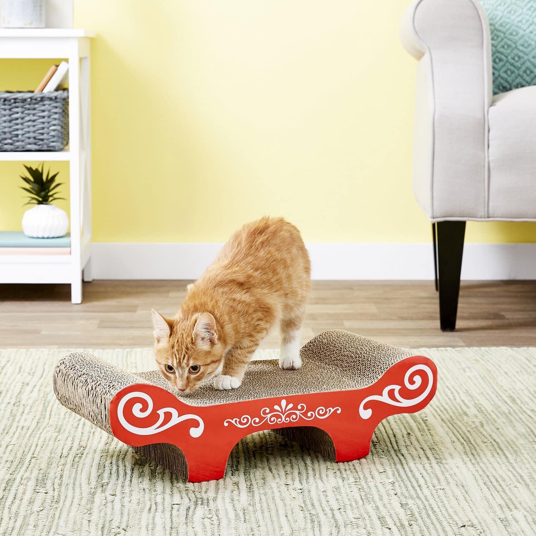 cat in Catit Bench Scratcher with Catnip