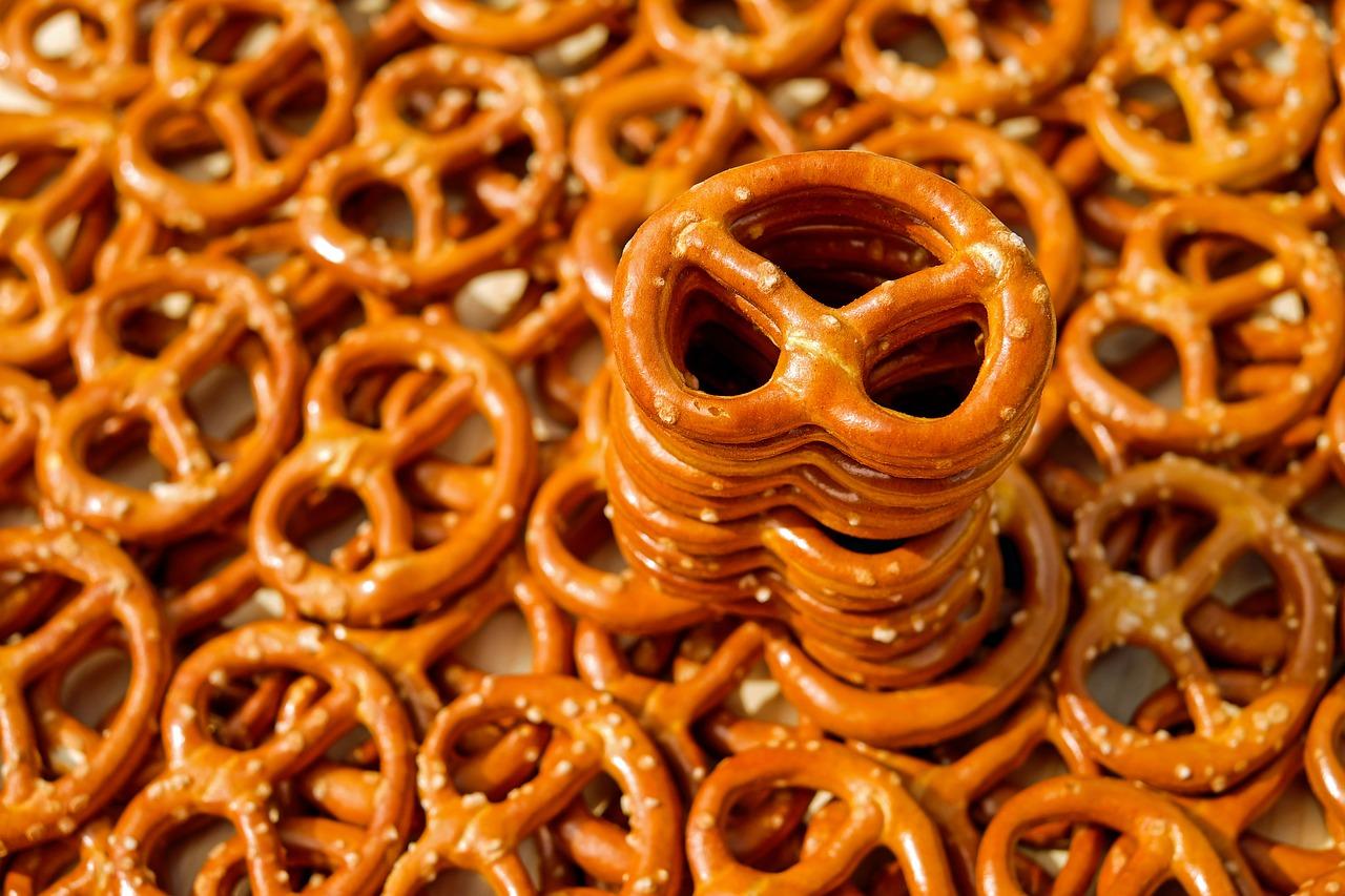 stack of pretzels
