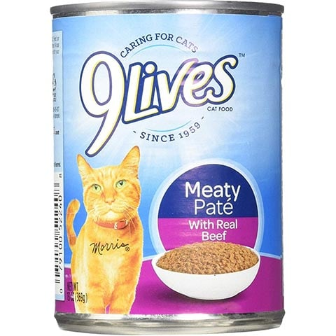 9 Lives Meaty Pate with Real Beef Canned Cat Food