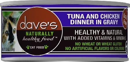 Dave's Pet Food Naturally Healthy Grain-Free Tuna & Chicken Dinner in Gravy