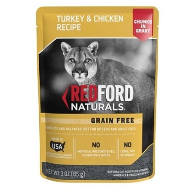 Redford Naturals Grain Free Chunks in Gravy Turkey & Chicken Recipe Cat Food Pouches