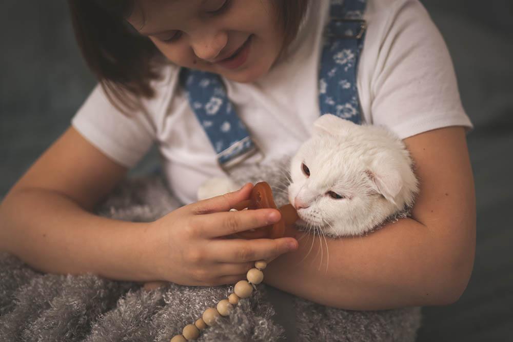 girl giving pacifier to a kitten
